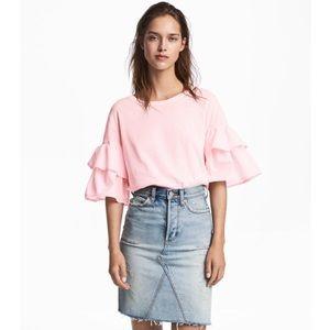 NEW H&M Ruffle Flounce Sleeve Top Pink